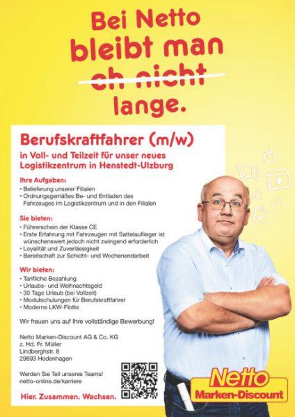 berufskraftfahrer fr unser neues logistikzentrum in henstedt ulzburg mw online bewerben - Netto Online Bewerbung